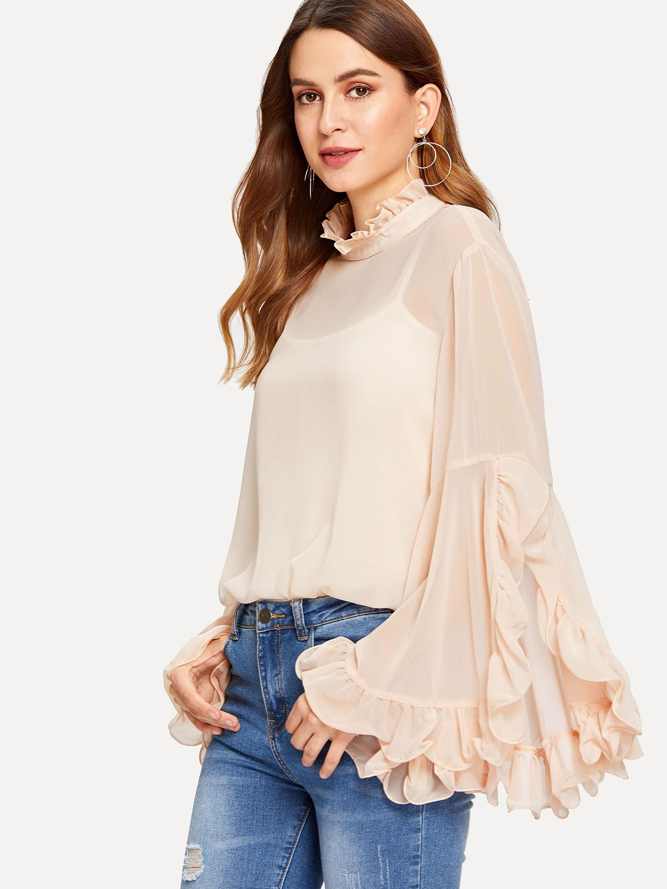 Slit Exaggerate Flounce Sleeve Sheer Top without Cami flounce string bra with sheer briefs