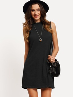 Mock-neck Swing Tank Dress