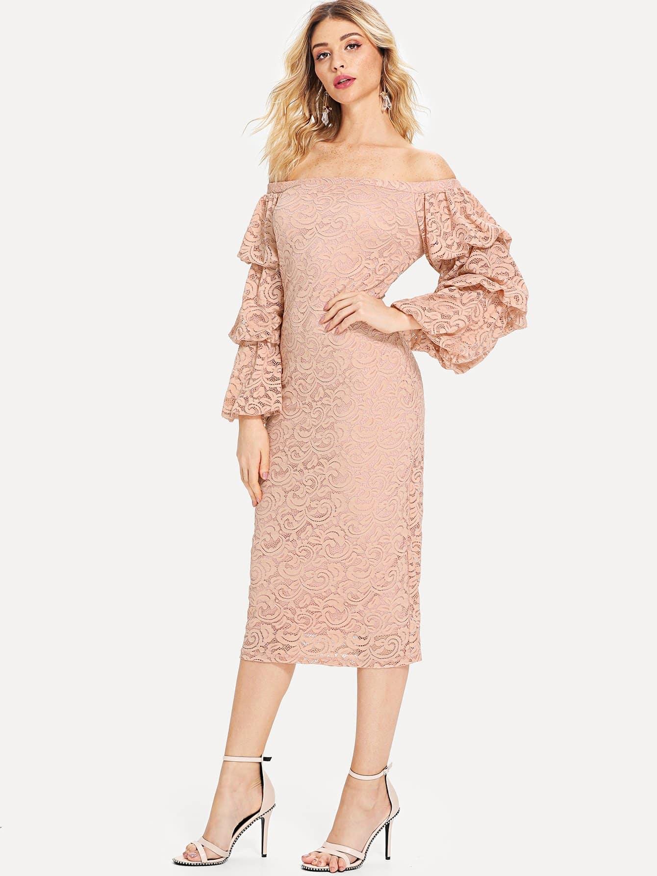 Купить Платье карандаш с кружевами и открытыми плечами, Nathane, SheIn