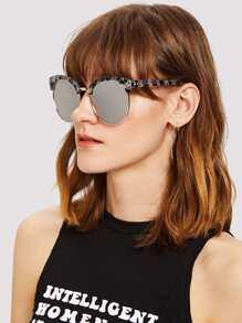 Marble Print Frame Mirror Lens Sunglasses