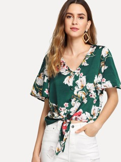 Button Up Bell Sleeve Knot Floral Blouse