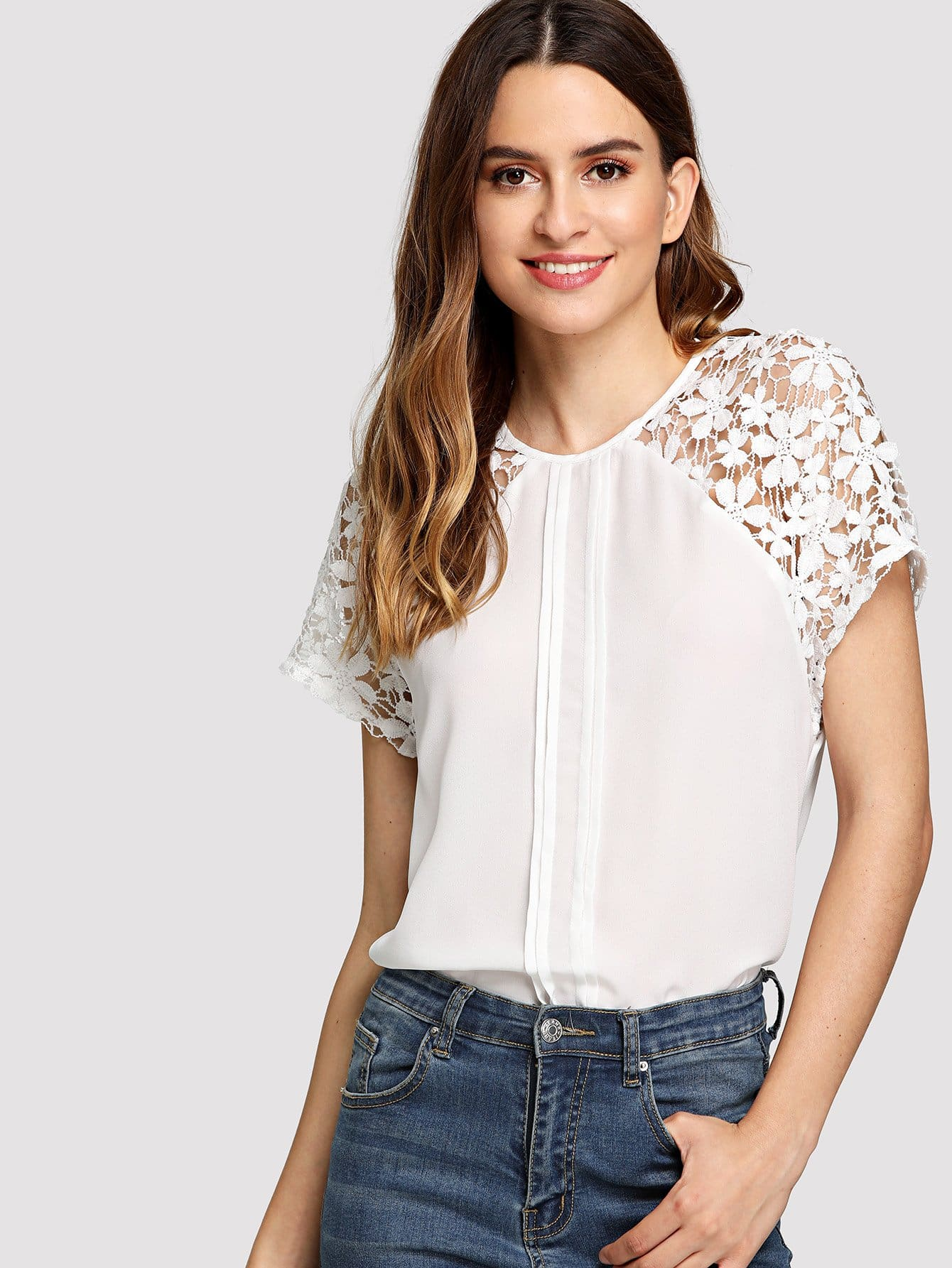 Lace Raglan Sleeve Fold Pleat Detail Top scallop v neck pleat detail top