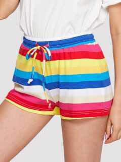 Drawstring Waist Striped Shorts