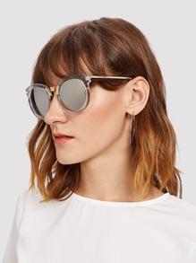 Mirror Lens Contrast Frame Sunglasses
