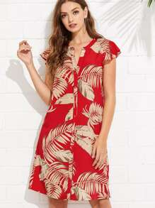 Flutter Sleeve Palm Leaf Print Buttoned Dress