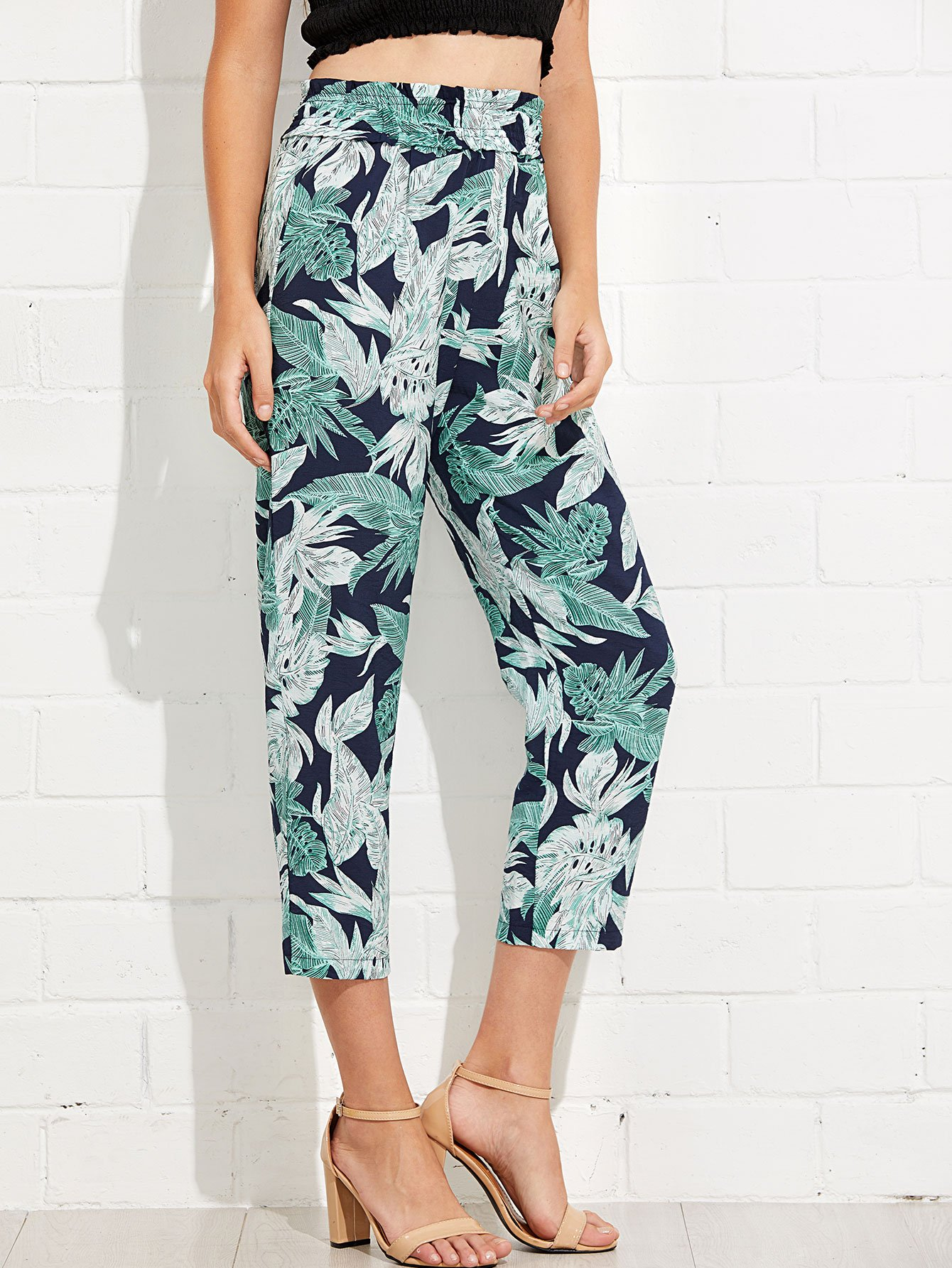 Jungle Print Wide Waistband Pants buttoned wide waistband palazzo pants with strap