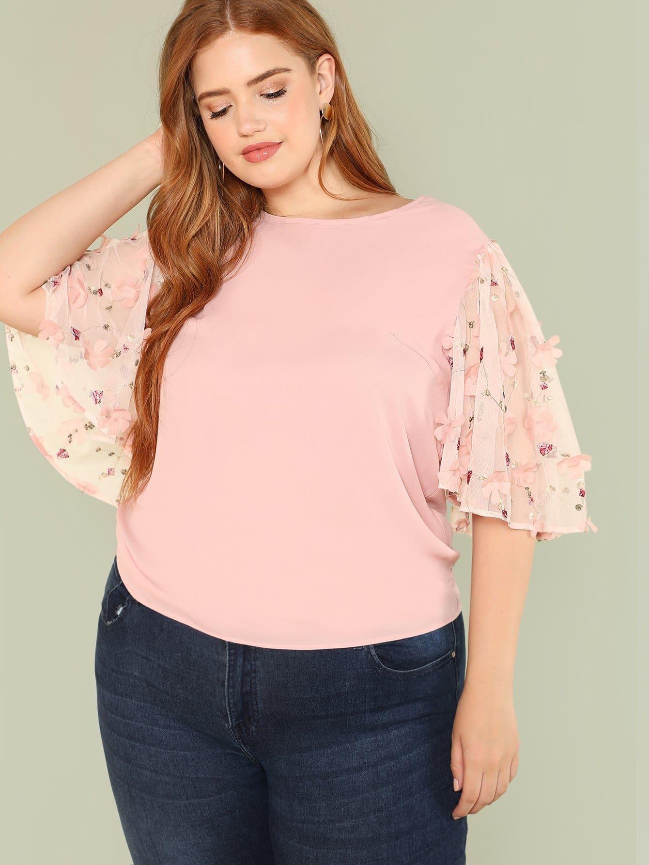 Купить Блузка с широкими рукавами и прозрачными вставками, Bree Kish, SheIn