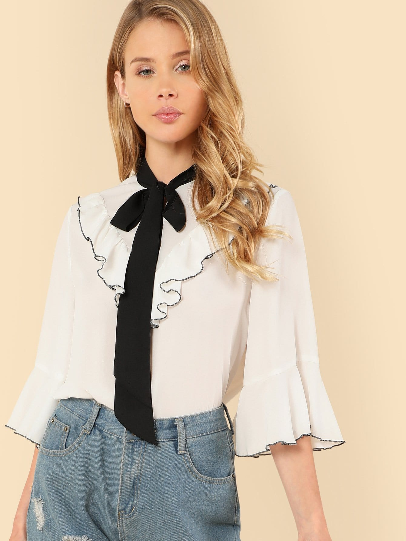все цены на Contrast Tipping Flounce Sleeve Tied Neck Blouse