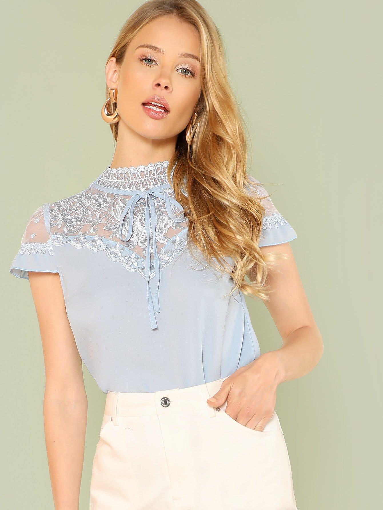 Купить Прозрачная блузка с вышивкой, Allie Leggett, SheIn