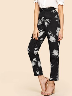 High Rise Floral Cigarette Pants