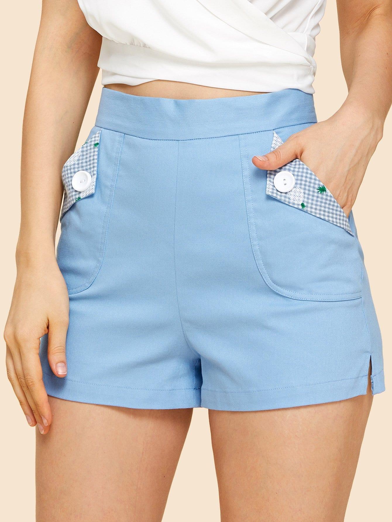 Купить Застегнутые карманные карманные шорты, Julie H., SheIn