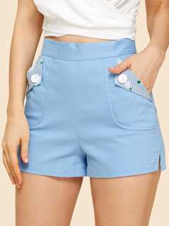 Buttoned Foldover Pocket Tailored Shorts