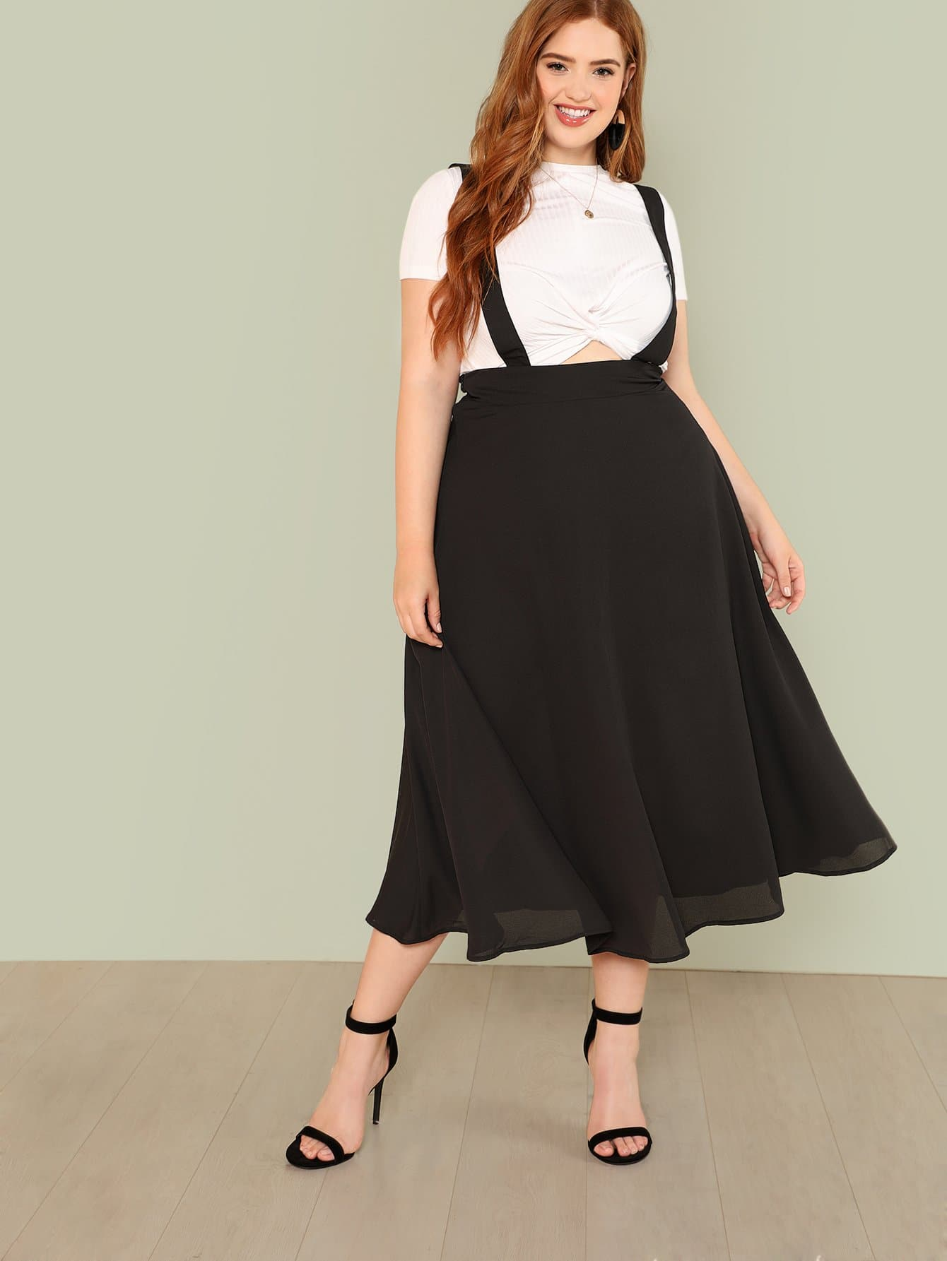 все цены на Plus Boxed Pleated Solid Skirt With Thick Strap