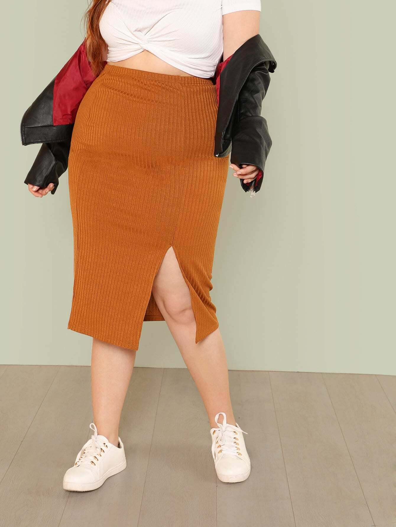 где купить Plus Rib Knit Pencil Skirt дешево