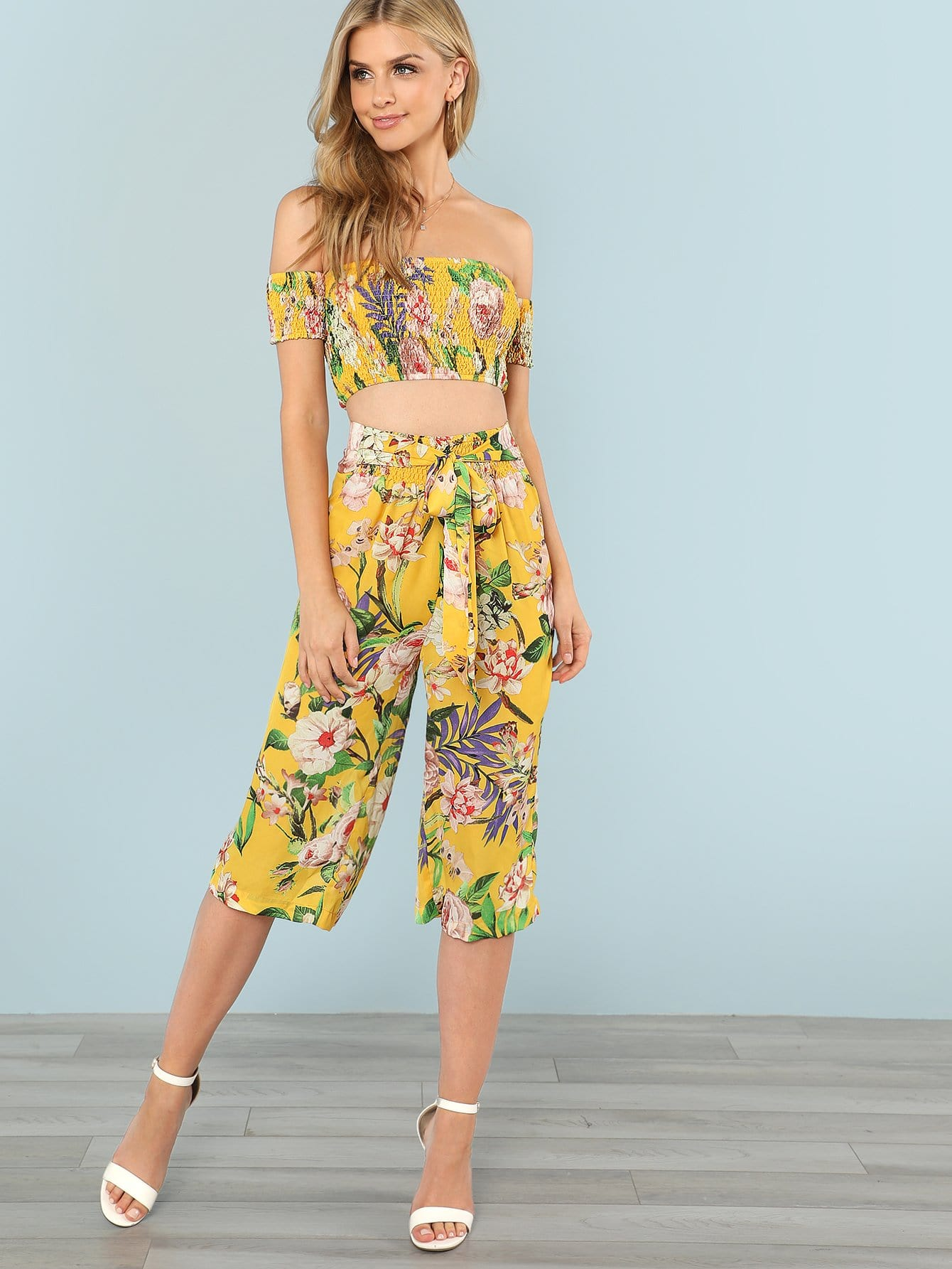 Floral Print Bardot Crop Top & Skirt Set plaid print crop top and skirt set