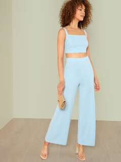 Thick Strap Crop Top & Palazzo Pants Set