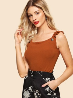 Ruffle Strap Buttoned Ribbed Top
