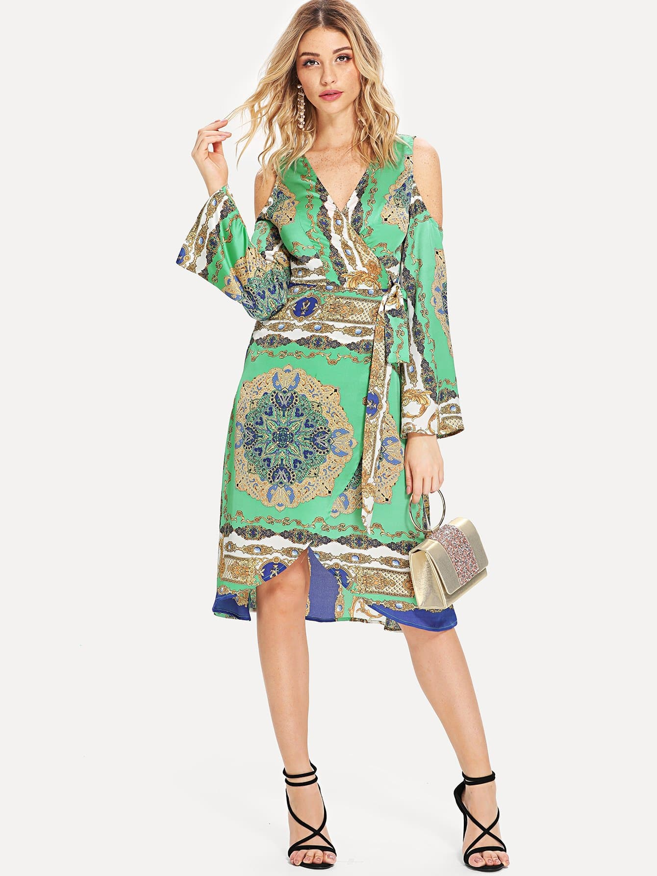 Graphic Print Cold Shoulder Belted Wrap Dress набор цветных карандашей maped color peps 24 шт 17 5 см 183224