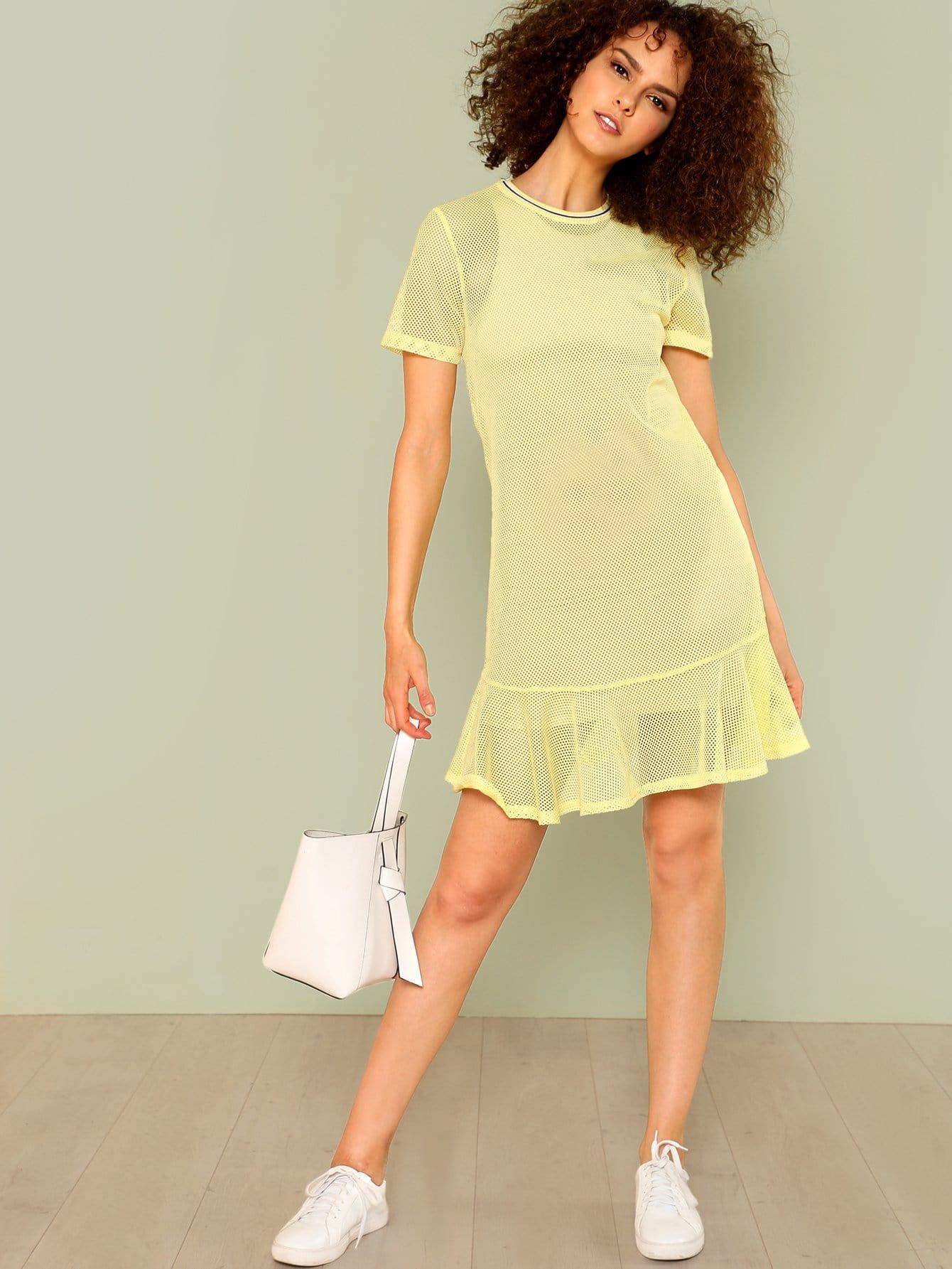 Contrast Striped Sheer Mesh Dress Without Cami skull print sheer mesh dress
