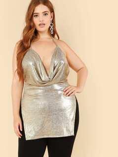 Shawl Collar Slit Side Cami Dress