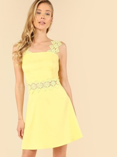 Lace Applique Fit & Flare Dress