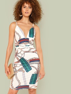 Graphic Print Twist Front Plunge Neck Cami Dress