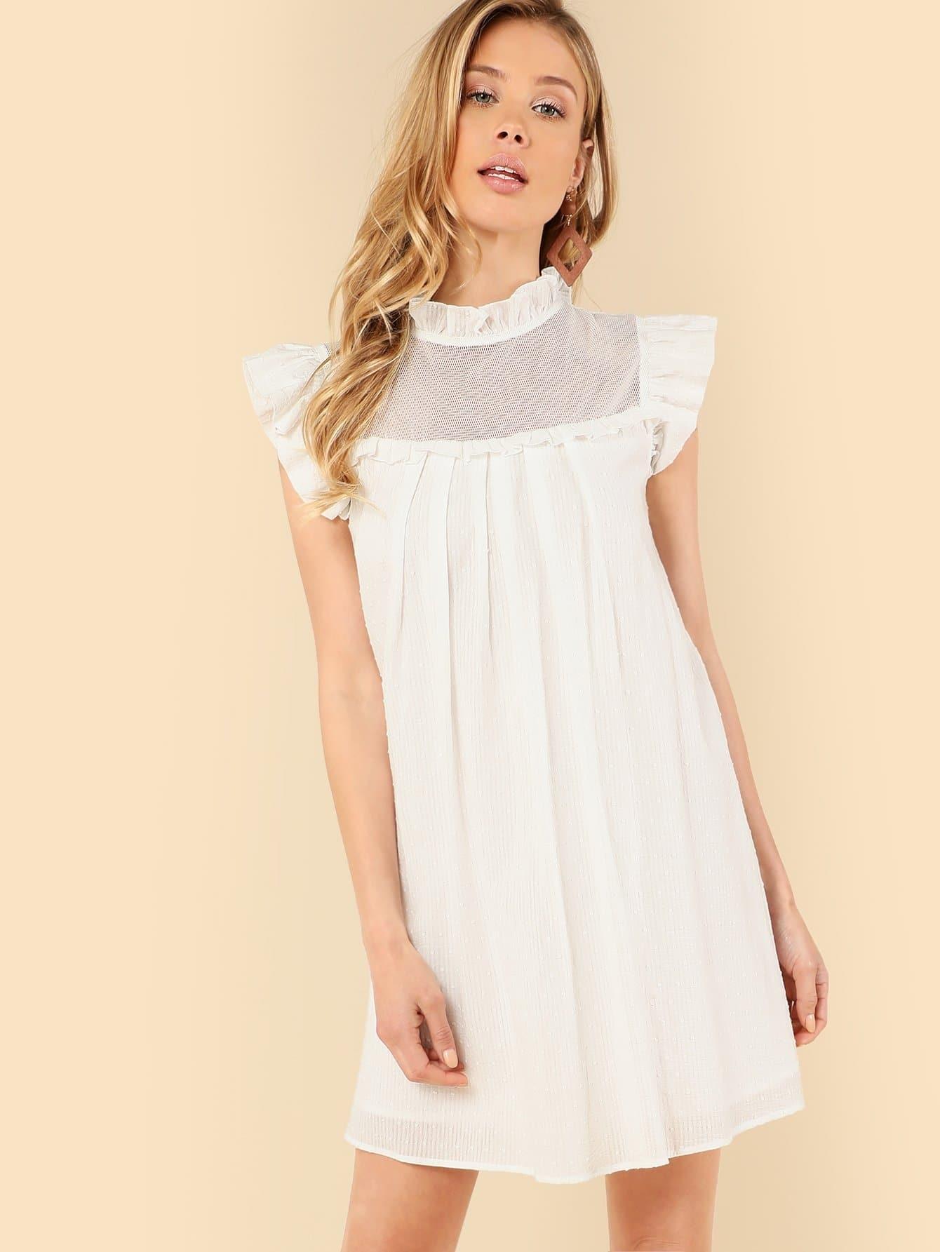 Купить Однотонное платье с оборками и вырезами, Allie Leggett, SheIn