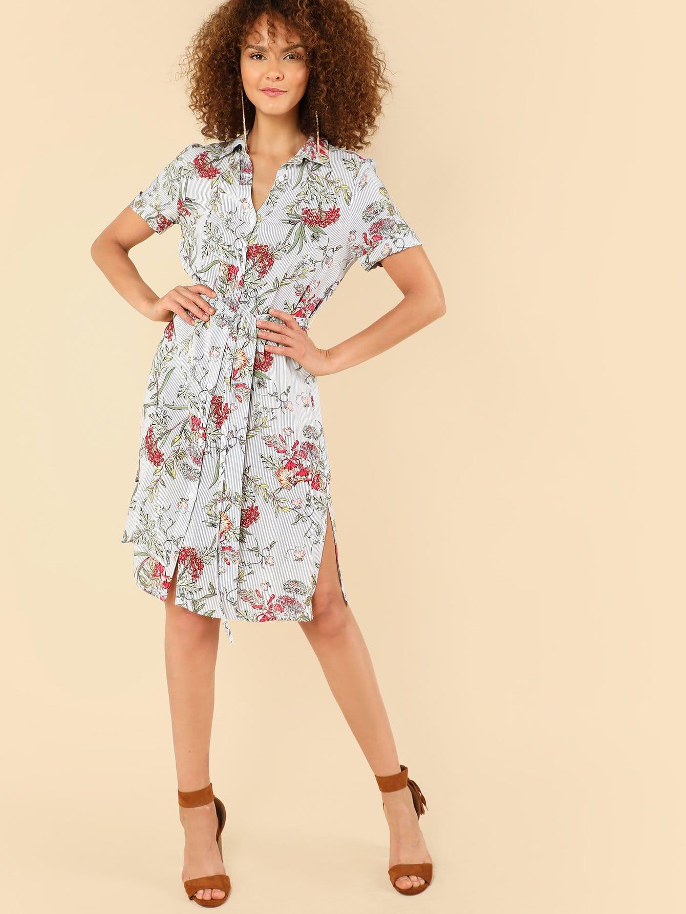 Mixed Print Belted Shirt Dress pu belted tartan shirt