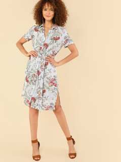 Mixed Print Belted Shirt Dress