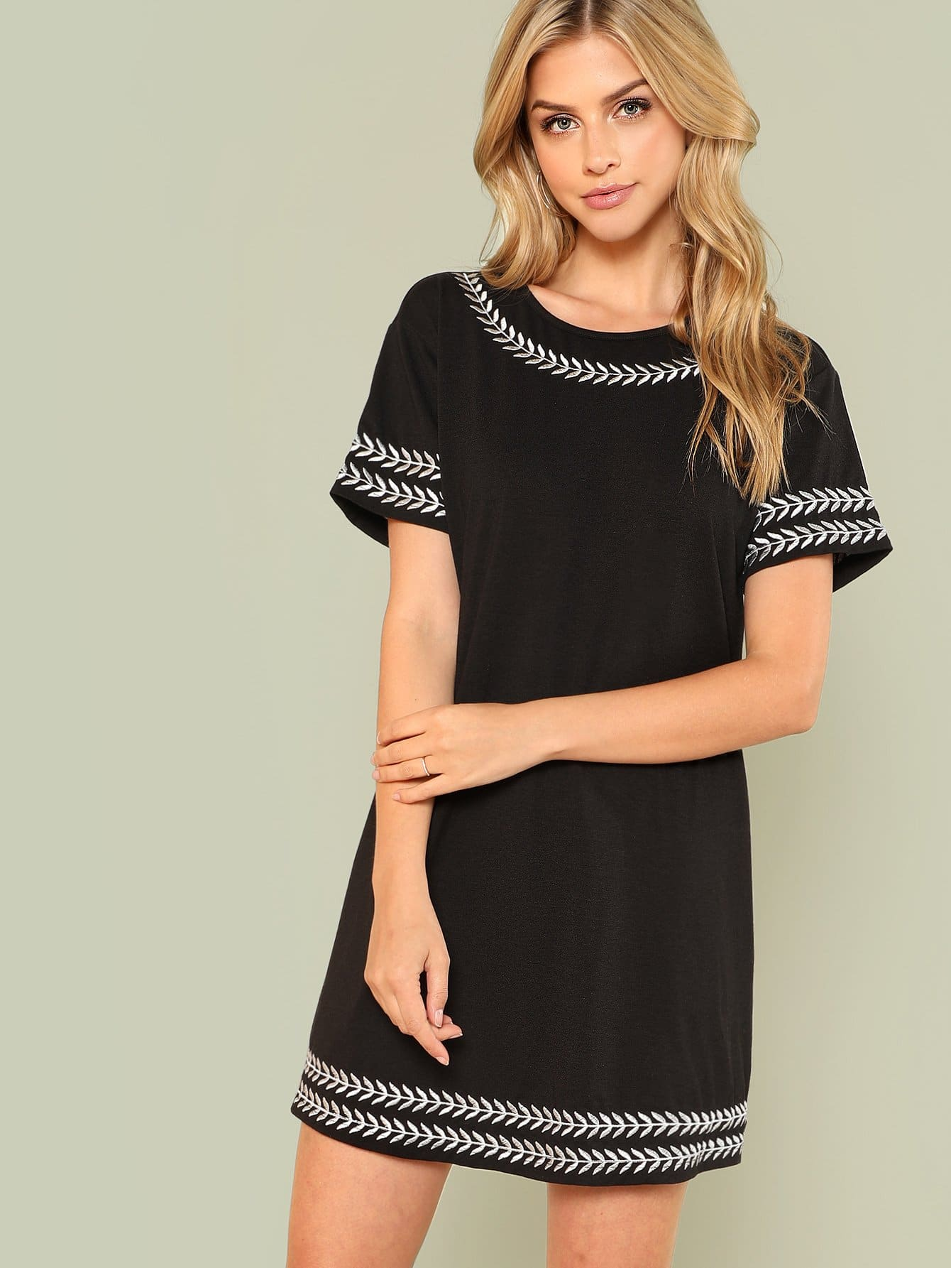 Embroidered Trim Tunic Dress embroidered sleeve denim tunic dress