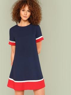 Mock Neck Striped Trim Dress