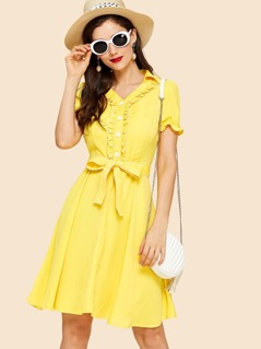 Frilled Half Placket Belted Dress