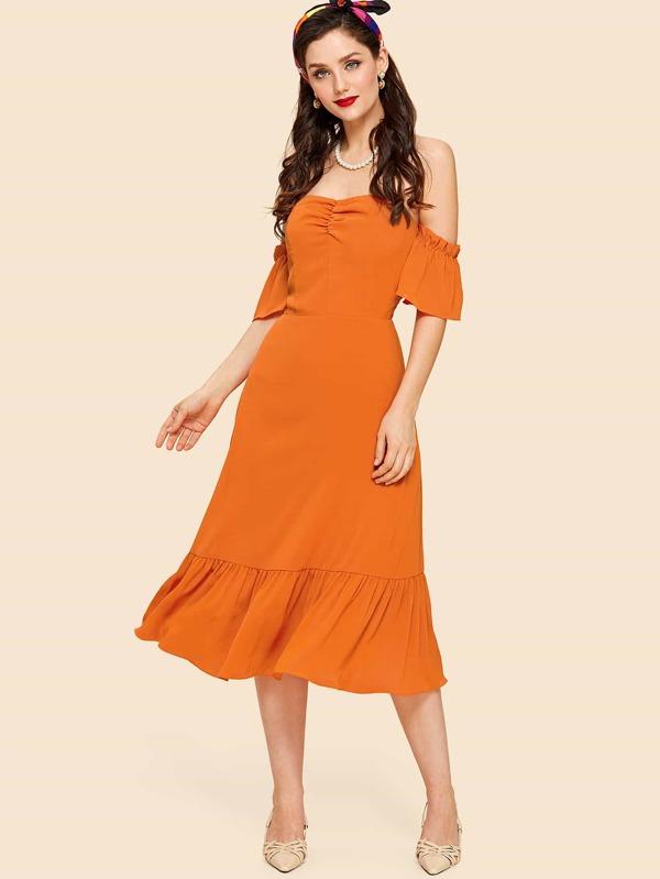 Ruched Front Flounce Hem Bardot Dress by Shein