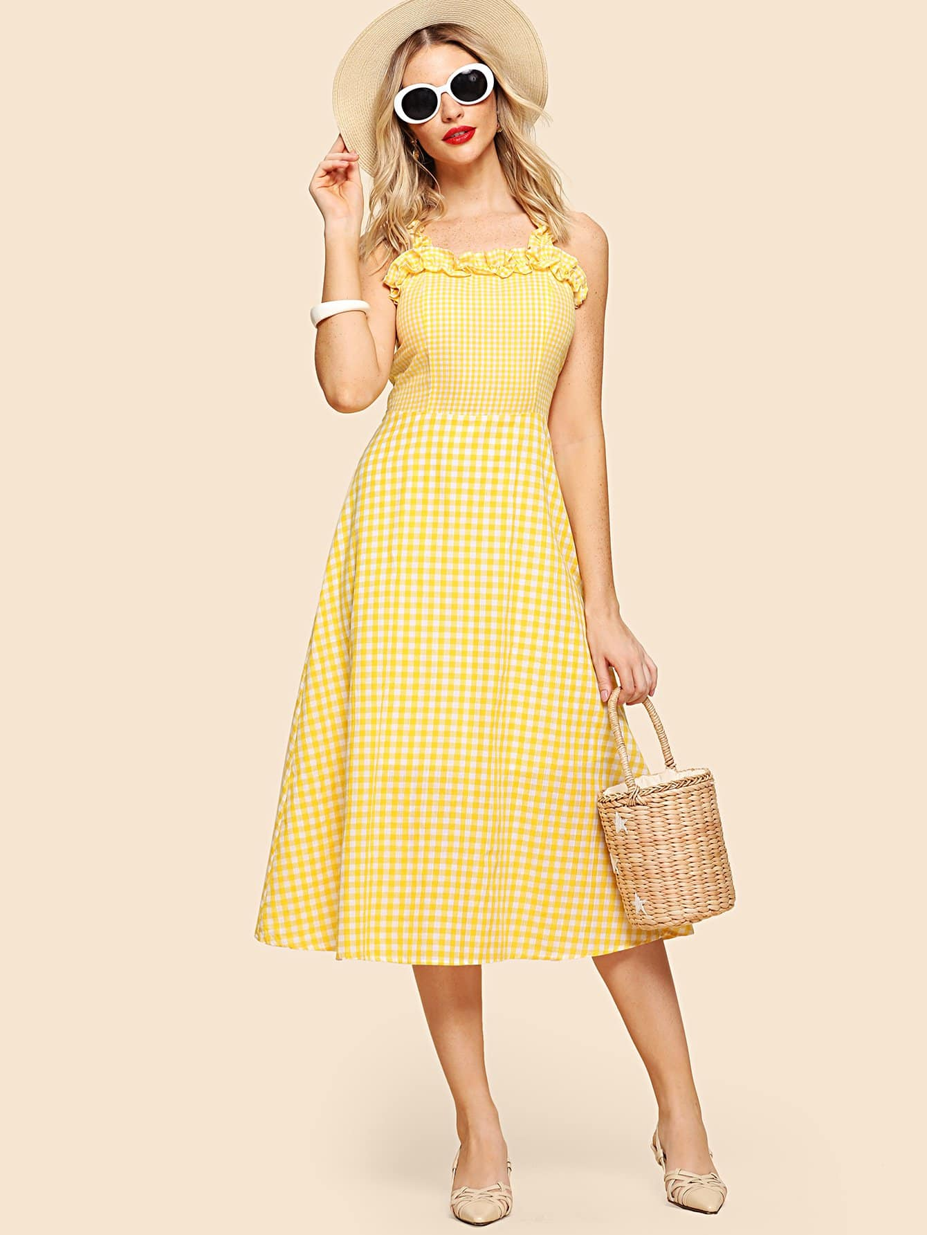 цены Frill Detail Mixed Gingham Dress