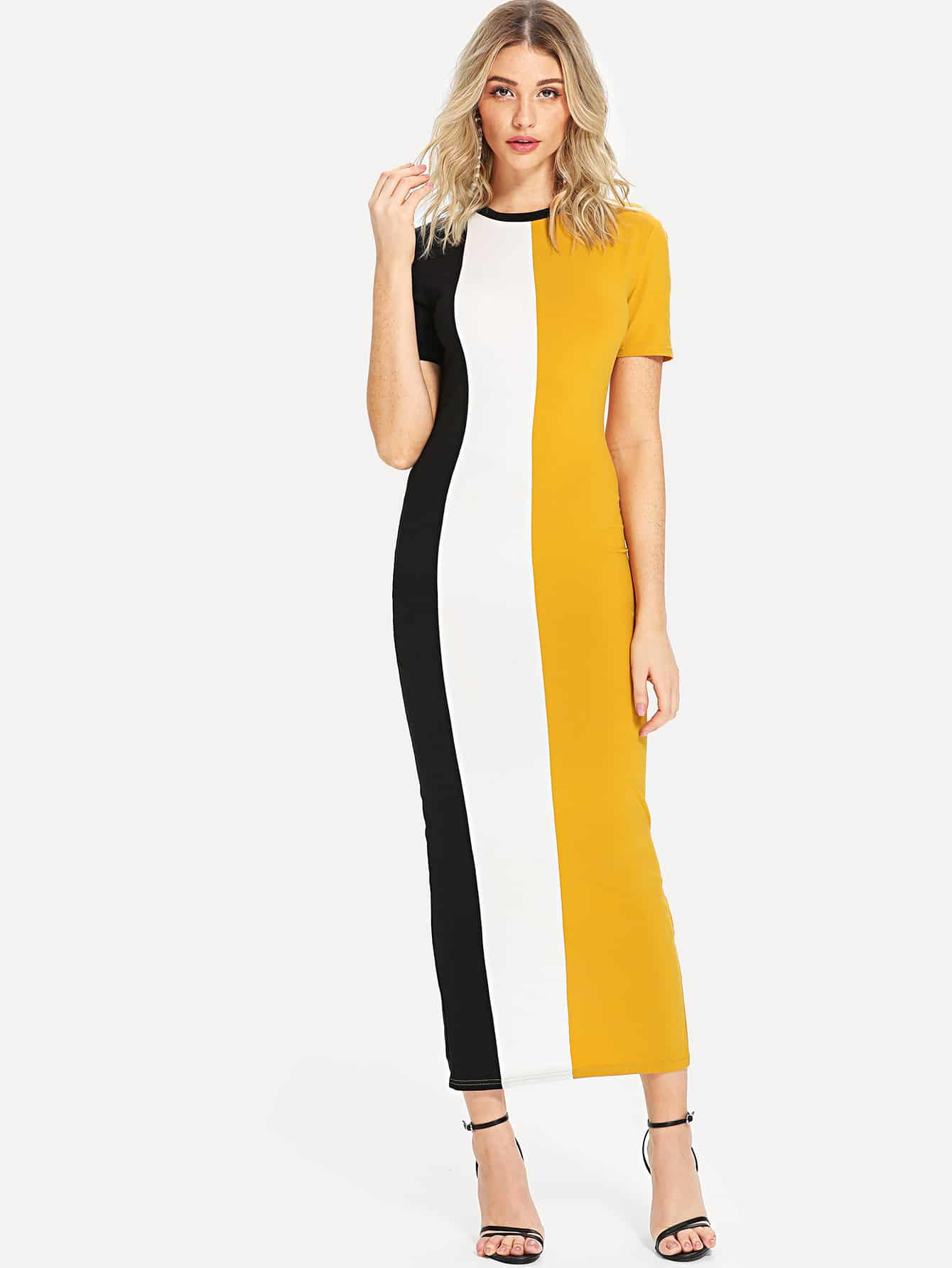 Cut And Sew Slit Back Fitted Dress buttoned closure back cut and sew cap sleeve top