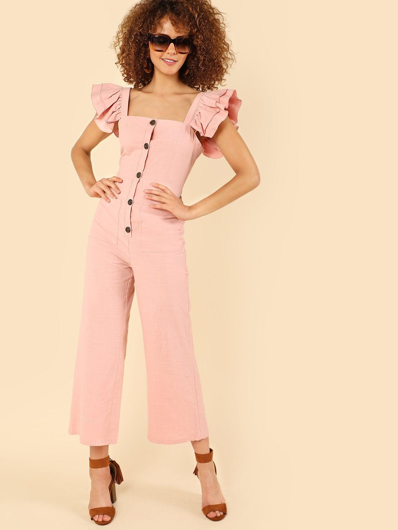 Layered Ruffle Strap Button Up Jumpsuits цена