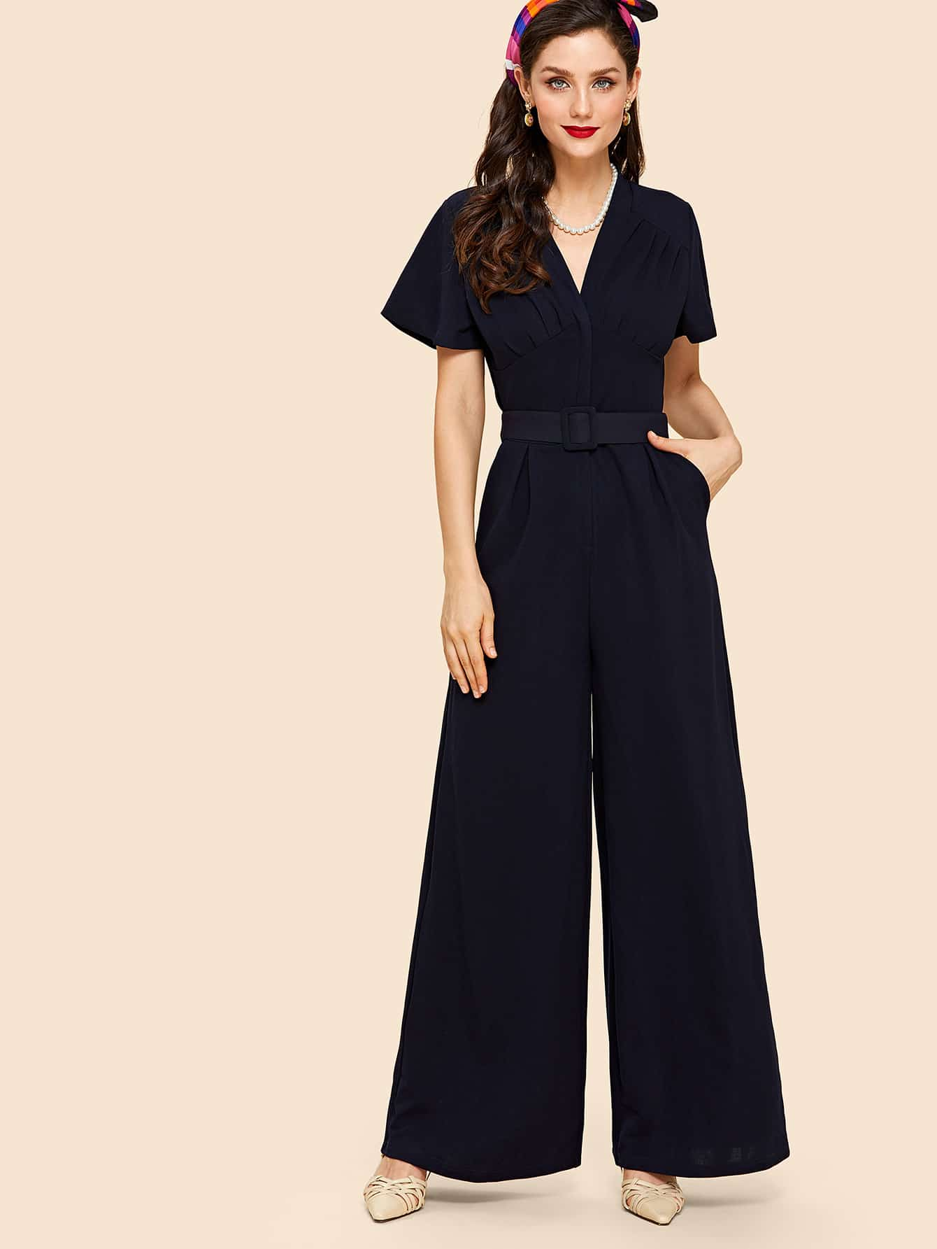 Fold Pleat Detail Palazzo Jumpsuit with Buckle Belt box pleat detail palazzo pants