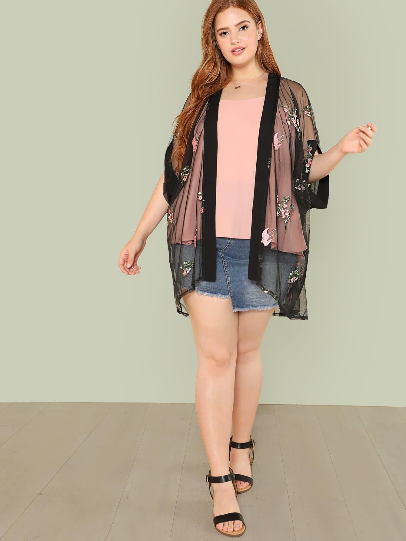 Купить Прозрачное кимоно с вышивкой, Bree Kish, SheIn