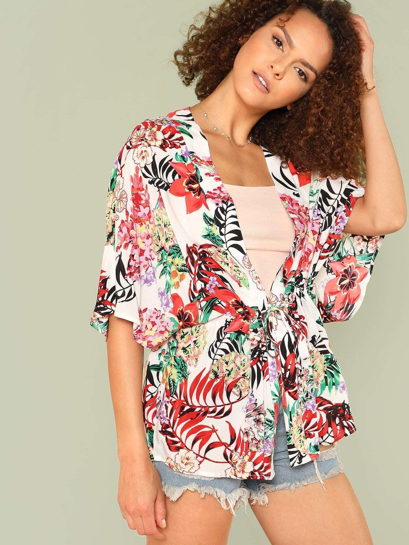 Drawstring Waist Tropical Kimono drawstring waist high low striped kimono