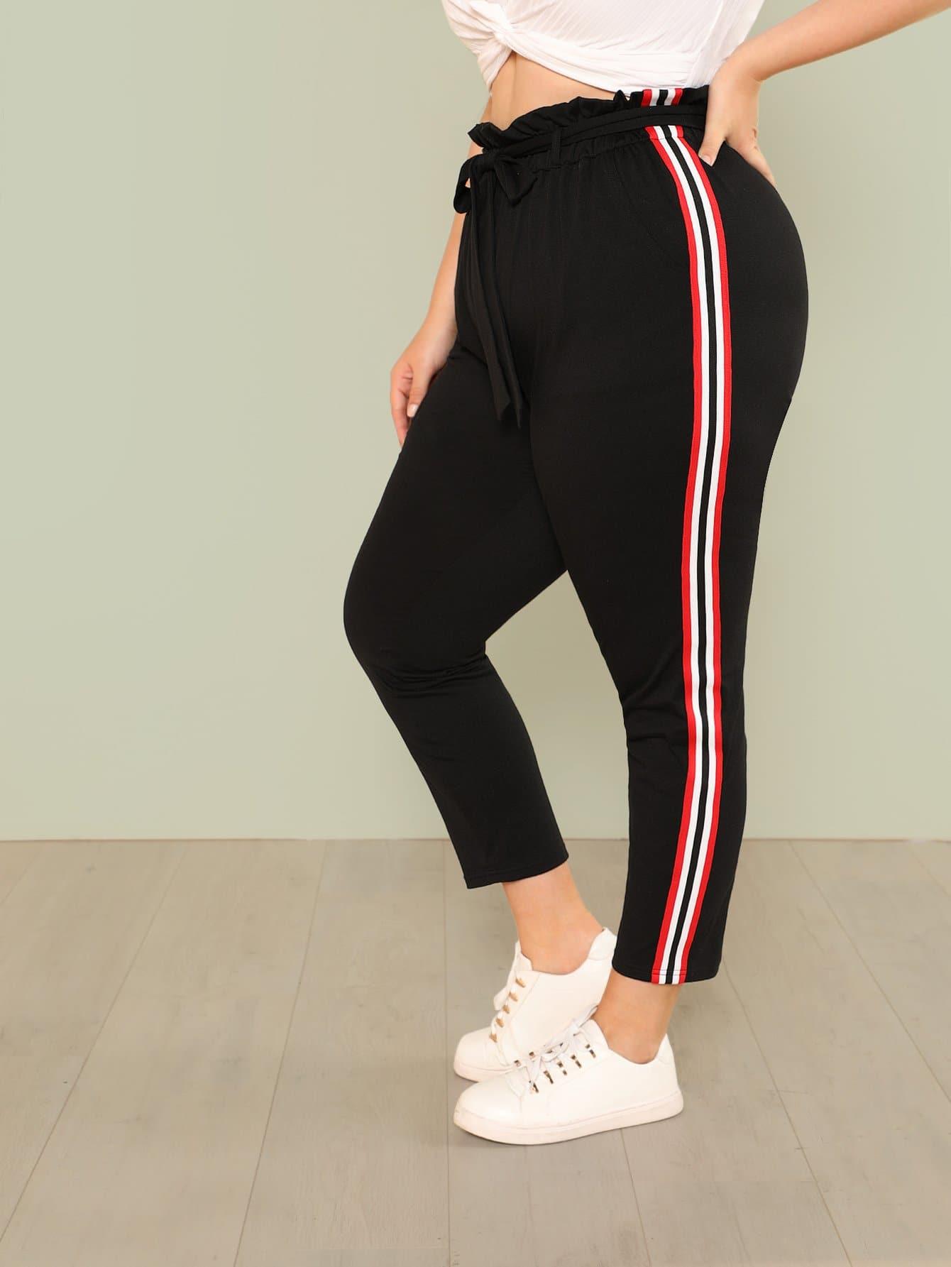 Tie Waist Striped Tape Side Sweatpants striped tape side cuffed pants