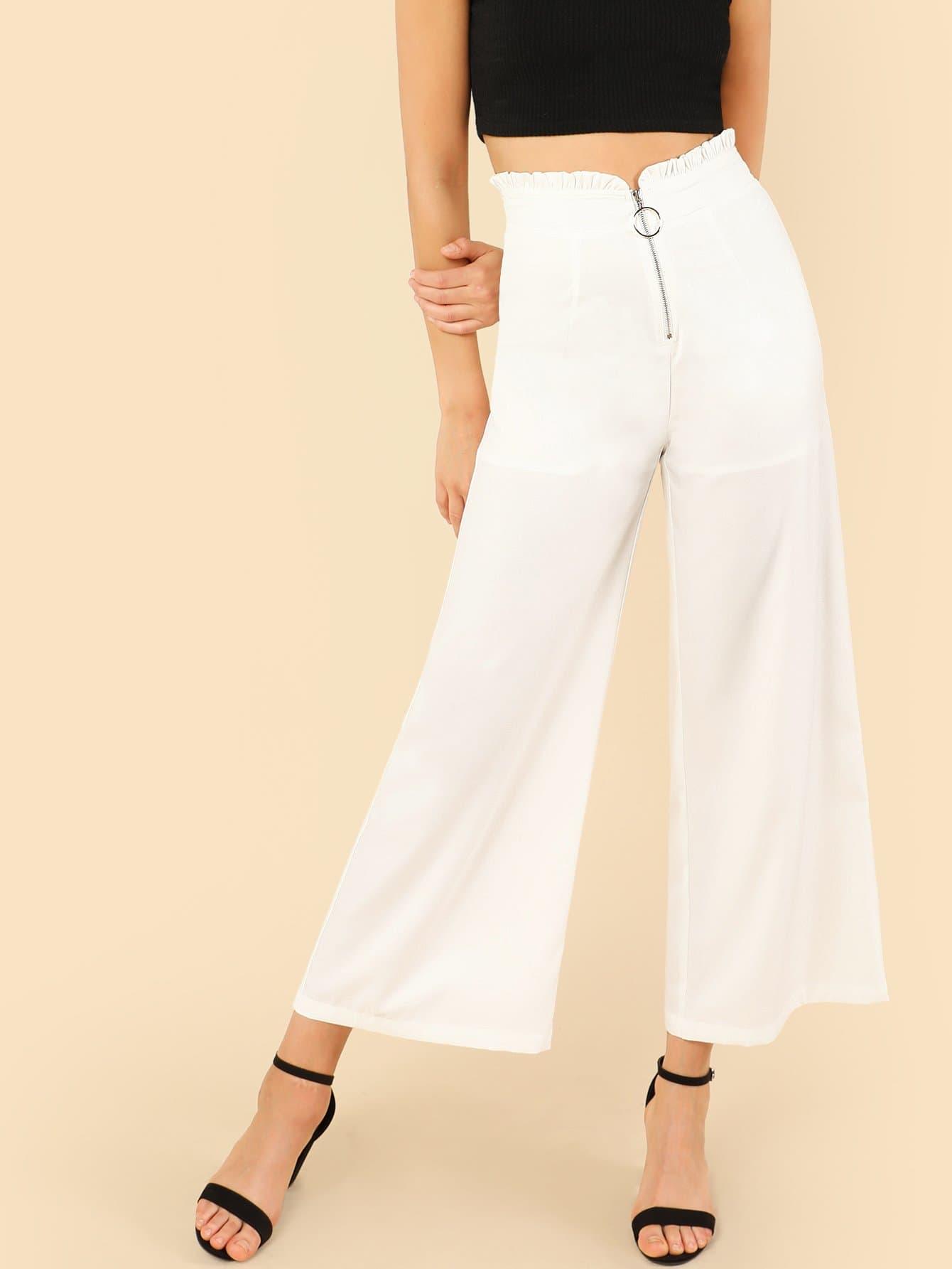 O-Ring Zip Up Wide Leg Pants zip up florals wide leg jumpsuit