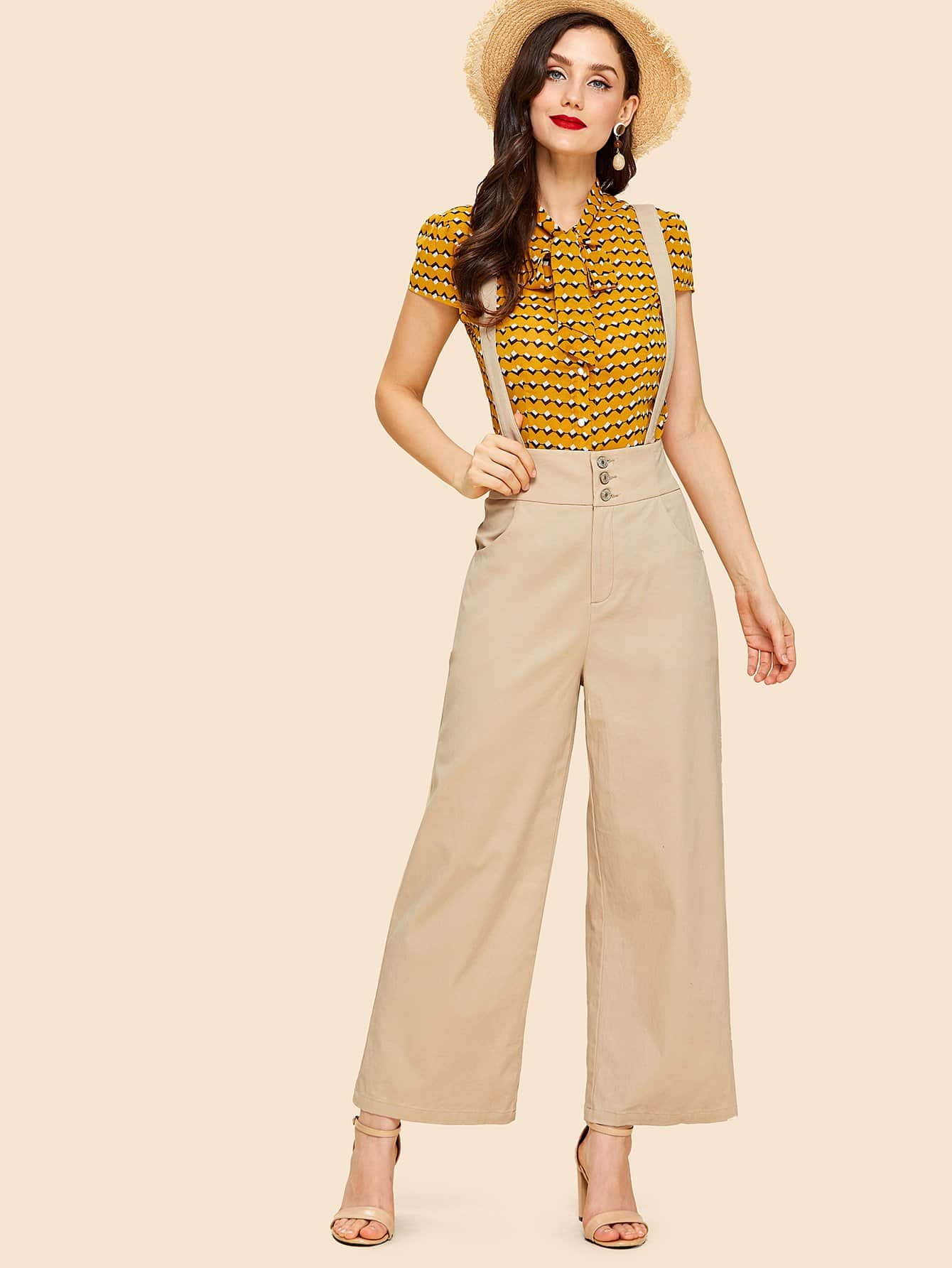 Buttoned Wide Waistband Palazzo Pants with Strap buttoned wide waistband palazzo pants with strap