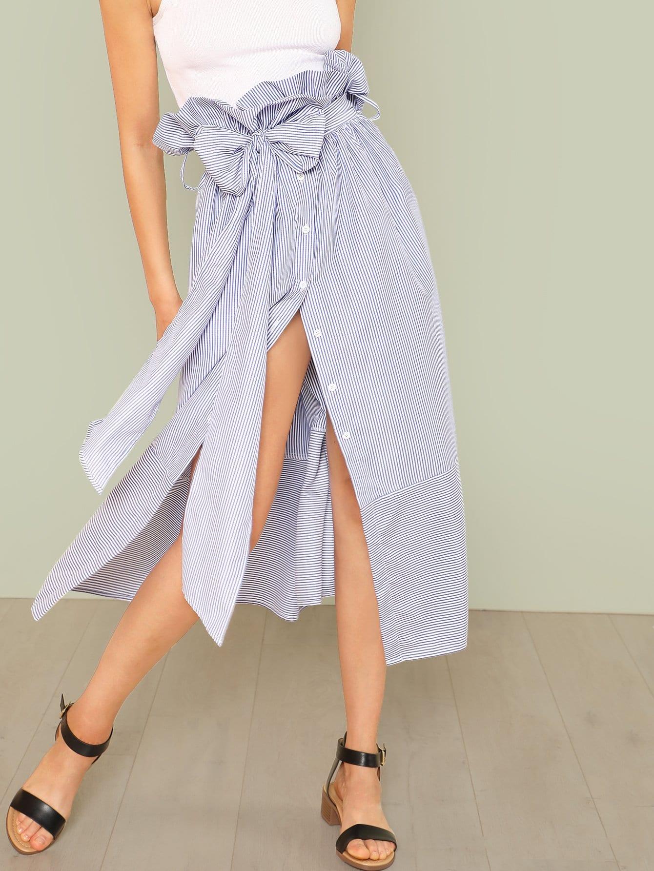 Self Belted Ruffle Waist Pinstripe Skirt self belted ruffle waist pinstripe skirt