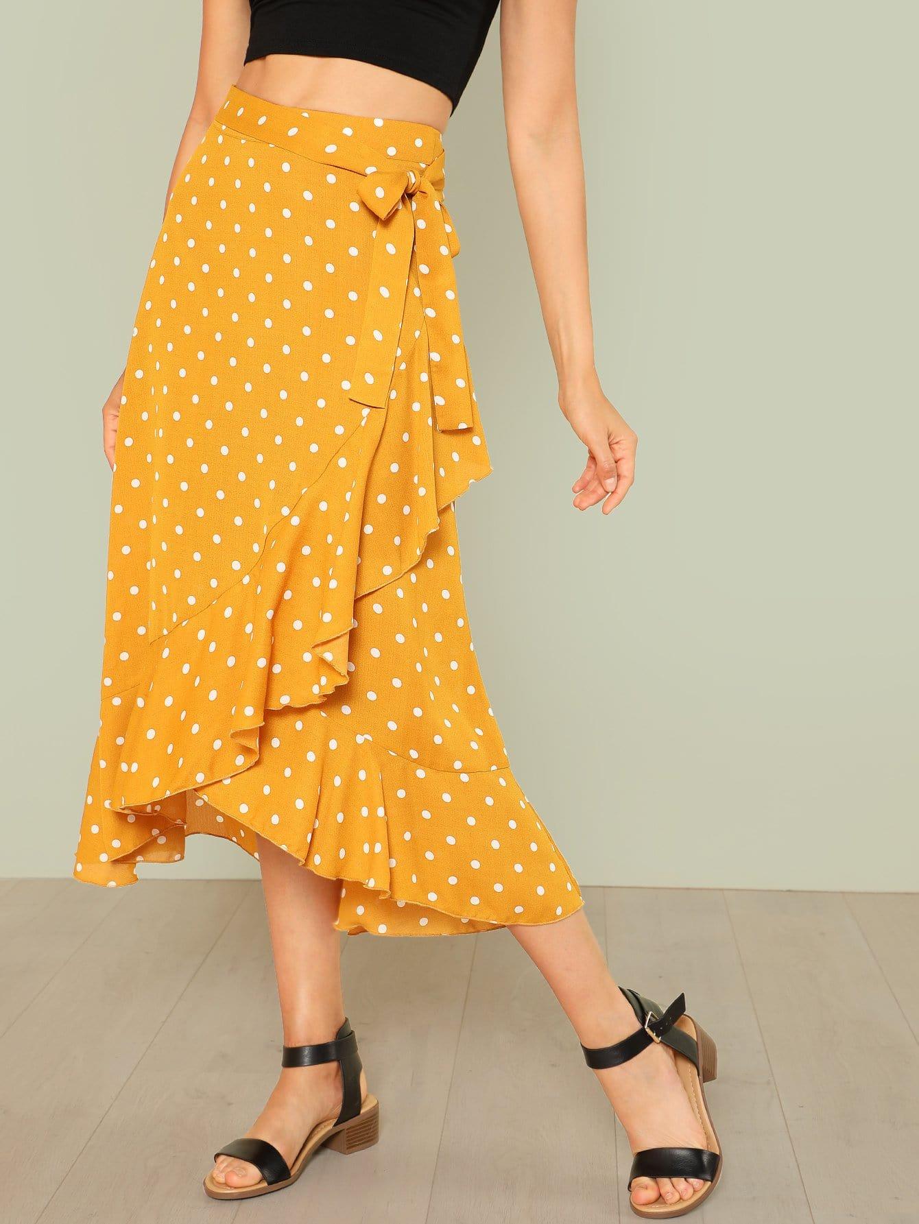 Купить Ассиметричная юбка в горошек, Dounia Aleksic, SheIn