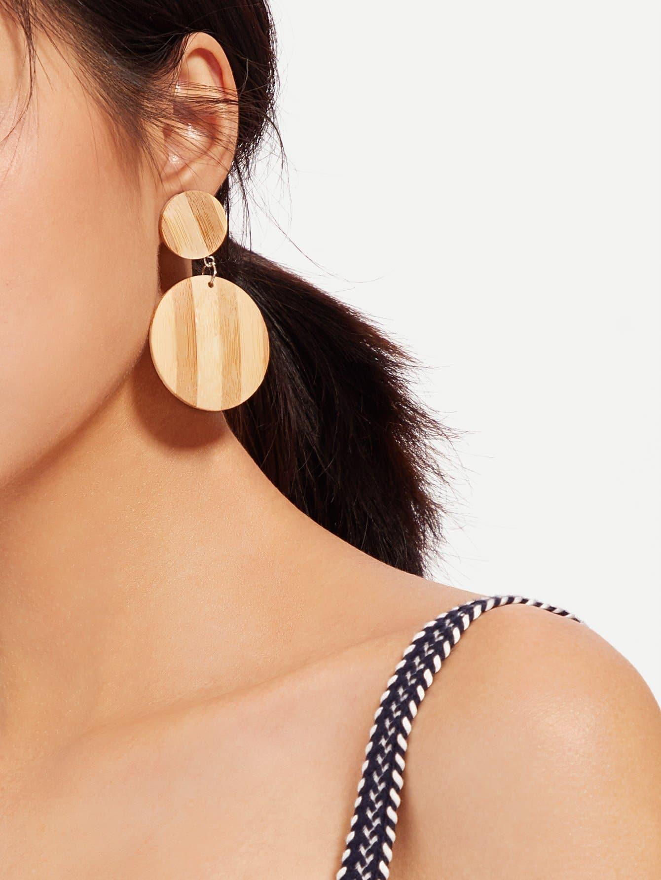 Wood Grain Drop Earrings