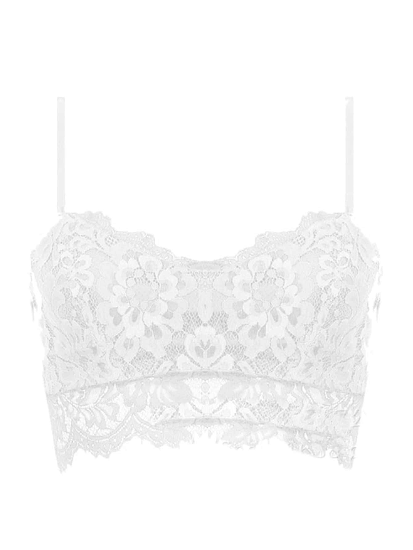 Scalloped Floral Lace Bralette pink sweet floral lace bralette top