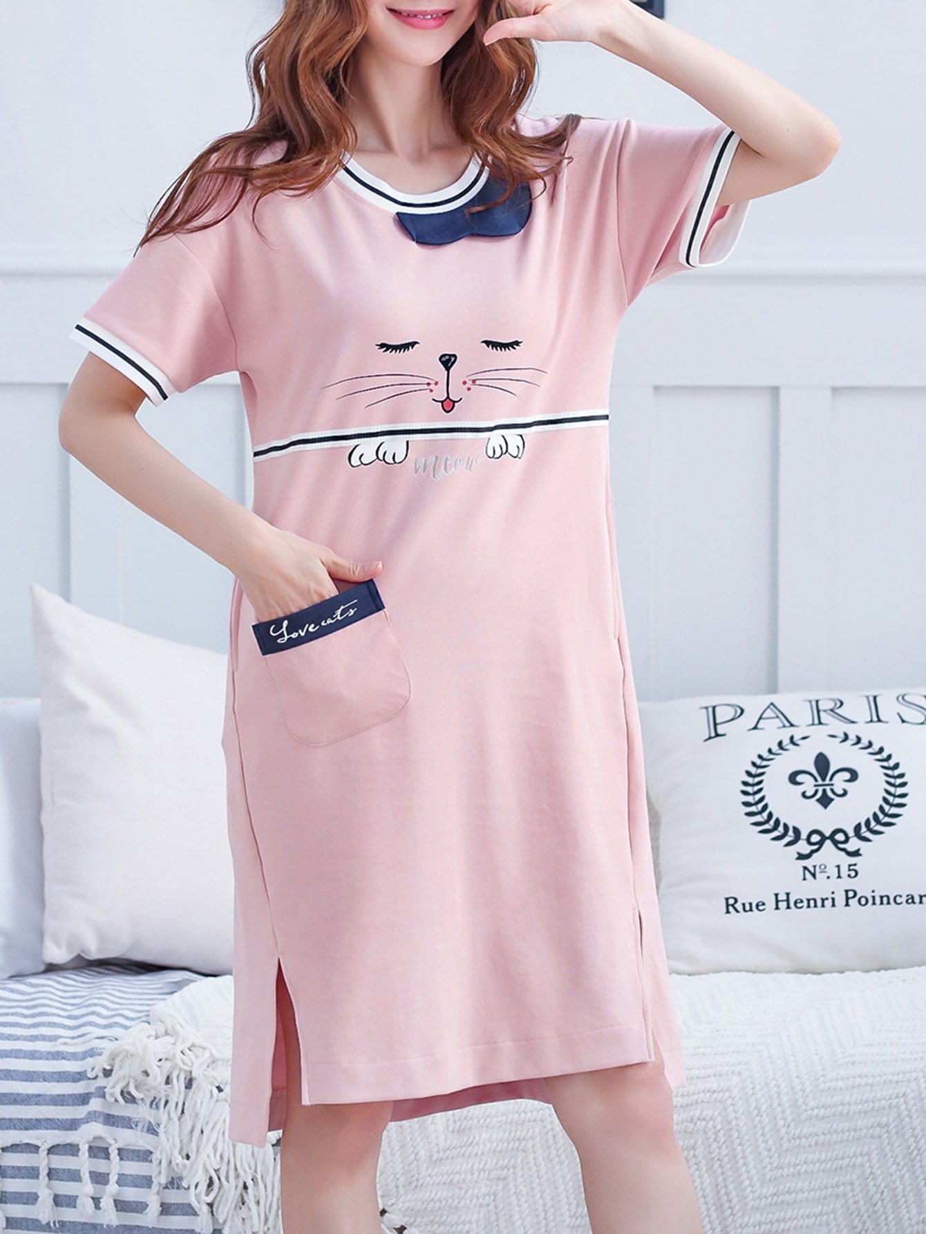 Cat Print Striped Night Dress