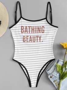 Slogan Print Striped Cami Bodysuit