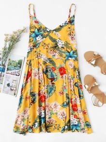 V Neckline Floral Print Cami Dress