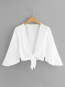 Lace Trim Knot Hem Kimono